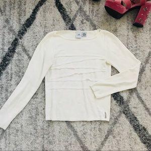 AX Armani Exchange Cream White Ruffle Sweater